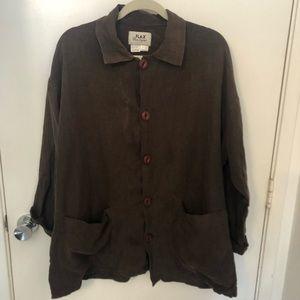 Flax linen jacket blazer size medium brown